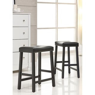 Nova Black Saddle Cushioned Seat 24-inch Barstools