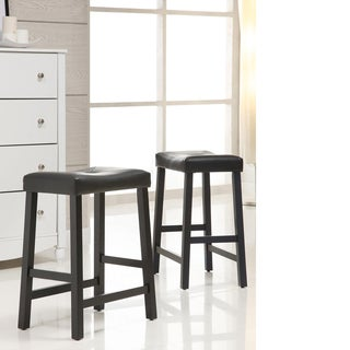 Tribecca Home Nova Black Saddle Cushioned Seat 24-inch Barstools