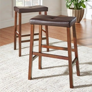 TRIBECCA HOME Nova Saddle Cushioned Stools (Set of 2)