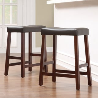 TRIBECCA HOME Nova Cherry Saddle Cushioned Seat 24-inch Barstool