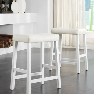 Nova White Saddle Cushioned Seat 24-inch Barstools