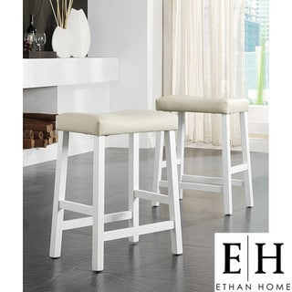 ETHAN HOME Nova White Saddle Cushioned Seat 24-inch Counter Stool (set of 2)