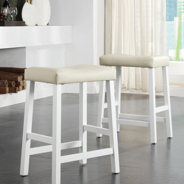 TRIBECCA HOME Nova White Saddle Cushioned Seat 24-inch Barstools