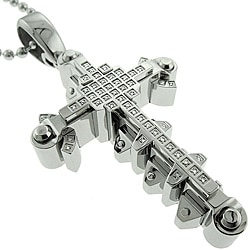 Black and Blue Jewelry Steel Men's 1/4ct TDW Diamond Cross Necklace (I-J, I2-I3)