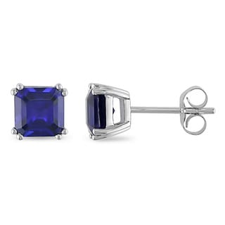 Miadora 10k White Gold Created Sapphire Earrings