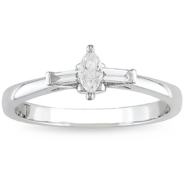 Miadora 10k White Gold 1/4ct TDW Marquise Diamond Ring (H-I, I2-I3)