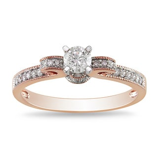 Miadora 14k Rose Gold 1/2ct TDW Diamond Bow Engagement Ring (H-I, I2-I3)