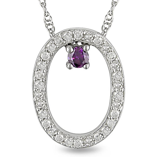 M by Miadora 10k White Gold 1/6ct Pink and White Diamond Oval Necklace (H-I, I2-I3)