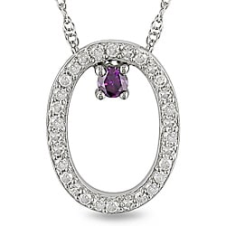 Miadora 10k White Gold 1/6ct Pink and White Diamond Oval Necklace (H-I, I2-I3)