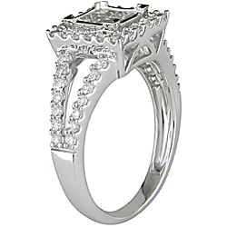Miadora 14k White Gold 1ct TDW Diamond Princess Cut Halo Engagement Ring (H-I, I2-I3)