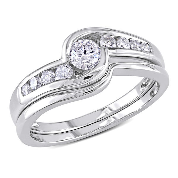 1/2 CT Diamond TW Bridal Set Ring 14k White Gold GH I2;I3