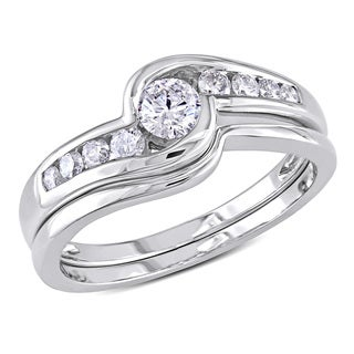 Miadora 14k White Gold 1/2ct TDW Diamond Bridal Ring Set (H-I, I2-I3)