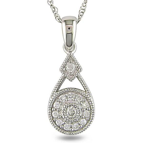 Miadora 10k White Gold 1/10ct TDW Diamond Fashion Necklace (H-I, I2-I3)
