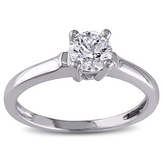 Miadora 14k White Gold 3/4ct TDW Diamond Solitaire Ring (G-H, I1-I2) with Bonus Earrings