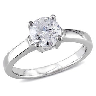 Miadora 14k White Gold 1ct TDW Diamond Solitaire Ring (H-I, I2-I3)
