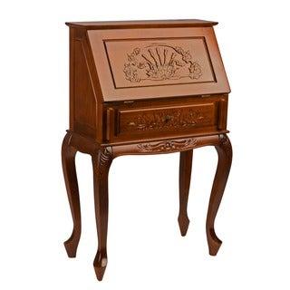 International Caravan Hand-carved Hard Wood Small Secretary Desk