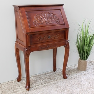 International Caravan Hand-carved Hard Wood Small Secretary Desk