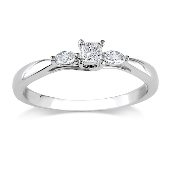 Miadora 1/4 CT Princess and Marquise Diamonds TW Engagement Ring 10k White Gold GH I2;I3