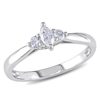 Miadora 10k White Gold 1/4ct TDW Marquise Diamond Ring (H-I, I2-I3) with Bonus Earrings