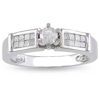 Miadora 14k White Gold 1/2ct TDW Diamond Engagement Ring (H-I, I2-I3) with Bonus Earrings