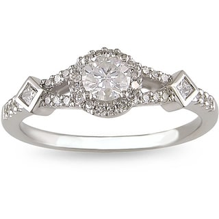 Miadora 14k White Gold 1/2ct TDW Diamond Halo Engagement Ring (G-H, I1-I2)