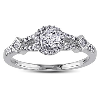 Miadora 14k White Gold 1/2ct TDW Diamond Halo Ring (G-H, I1-I2)