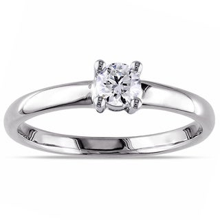 Miadora 14k White Gold 1/4ct TDW Diamond Solitaire Engagement Ring (H-I, I2-I3)