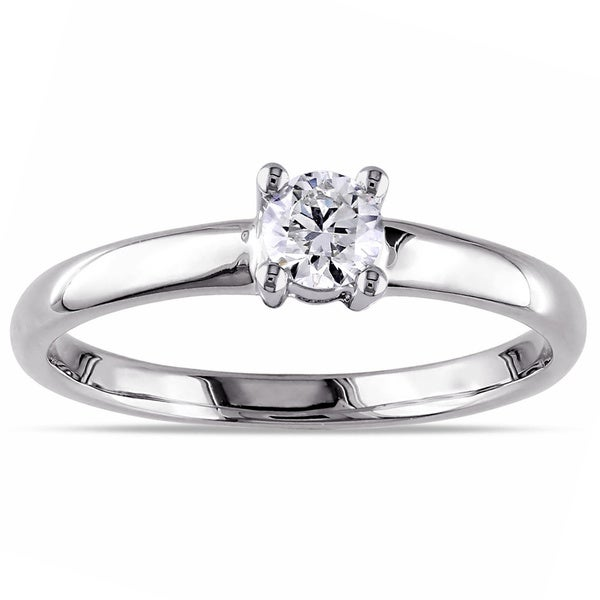 Miadora 14k White Gold 1/4ct TDW Diamond Solitaire Engagement Ring (H-I, I2-I3)