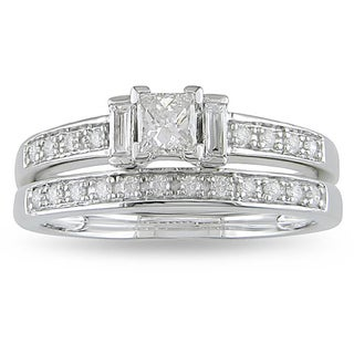 Miadora 14k White Gold 1/2ct TDW Diamond Princess Cut Bridal Ring Set (H-I, I2-I3) with Bonus Earrings