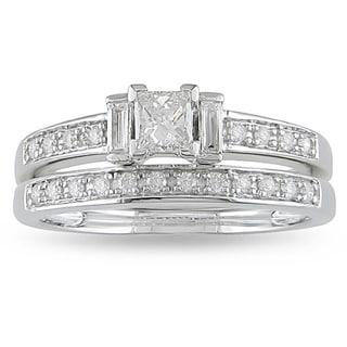 Miadora 14k White Gold 1/2ct TDW Diamond Princess Cut Bridal Ring Set (H-I, I2-I3)