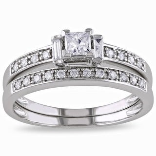 Miadora 14k White Gold 1/2ct TDW Diamond Princess Cut Bridal Ring Set (H-I, I2-I3)