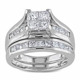 Miadora 14k Gold 2ct TDW Diamond Princess Cut Bridal Ring Set (H-I, I2-I3)