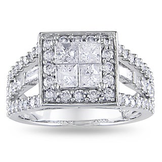 Miadora 14k White Gold 1 1/2ct TDW Diamond Halo Engagement Ring (H-I, I2-I3)