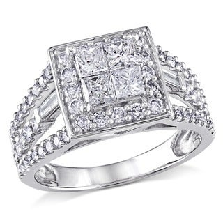 Miadora 14k White Gold 1 1/2ct TDW Princess Diamond Ring (H-I, I2-I3)