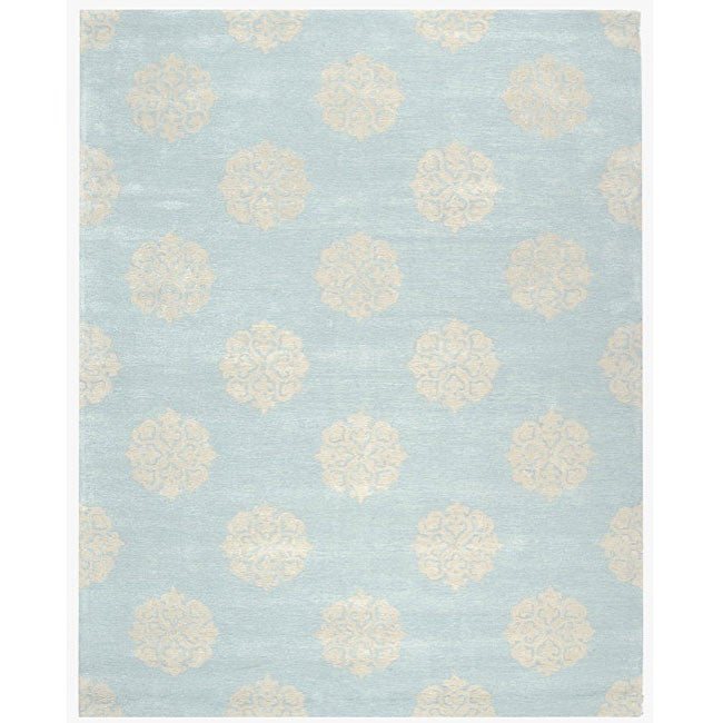 Safavieh handmade soho medallion light blue new zealand for Living room rugs 6x9