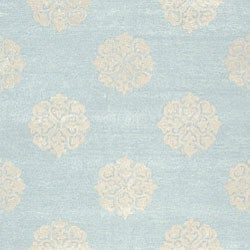 Handmade Soho Medallion Light Blue New Zealand Wool Rug (6' x 9')