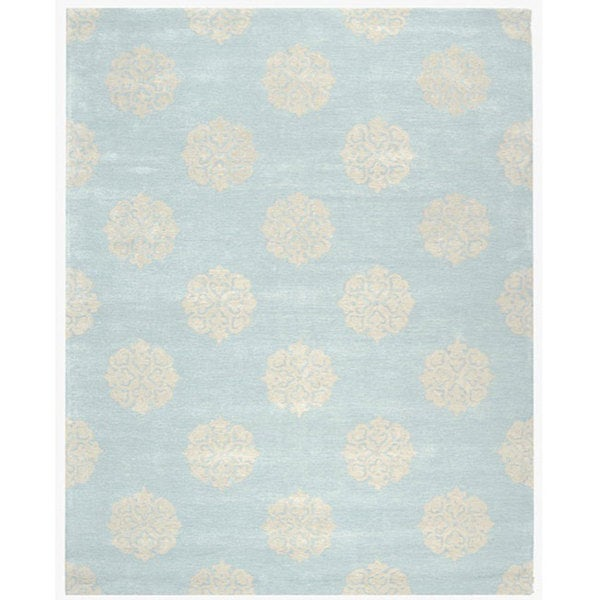 Safavieh Handmade Soho Medallion Light Blue New Zealand Wool Rug (6' x 9')