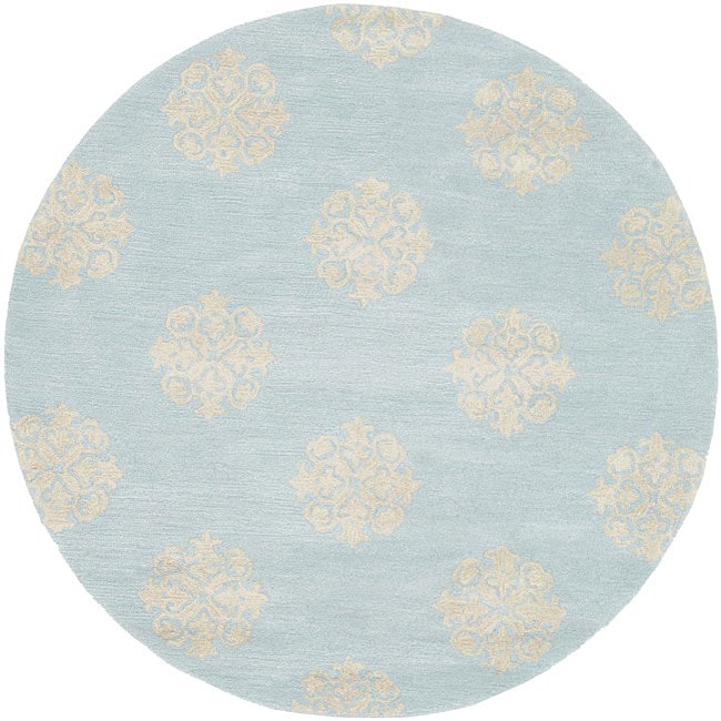 Safavieh Handmade Soho Medallion Light Blue N. Z. Wool Rug (8' Round)