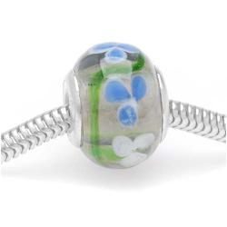 Beadaholique Glass Blue and White Flowers 14-mm Lampwork Bead (Pack of 2)