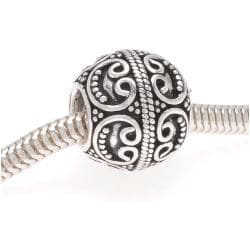 Beadaholique Sterling Silver 12.5-mm Round Ornate Filigree Bead (Pack of 2)
