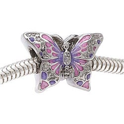 Beadaholique Silvertone Large Hole Two-sided Butterfly Beads (Pack of 2)