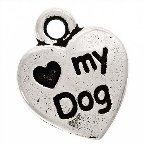 Beadaholique Silverplated 'Heart My Dog' Two-sided Charms (Pack of 2)