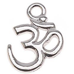 Beadaholique Rhodiumplated Pewter 'Om Ohm Aum' Hindu 18-mm Pendants (Pack of 2)