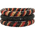 Red and Black 3-piece Massai Bangle Set (Kenya)