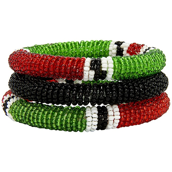 Red/ Green/ Black 3-piece Massai Bangle Set (Kenya)
