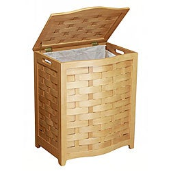 Natural Finished Bowed Front Wood Laundry Hamper 1002