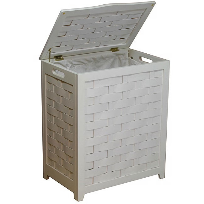 White Rectangular Veneer Wood Laundry Hamper with Interior Bag 1057