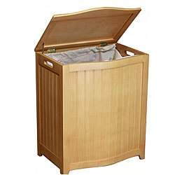 Natural-finished Bowed Front Wood Laundry Hamper with Interior Bag