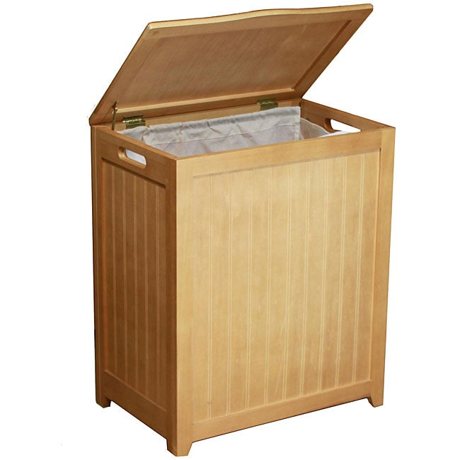 Natural-finished Rectangular Wood Laundry Hamper with Interior Bag 1095