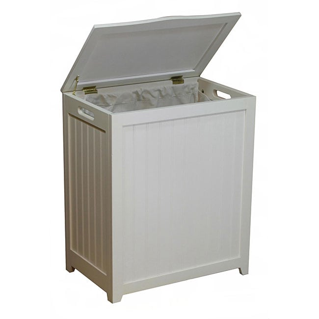 White Rectangular Wood Laundry Hamper With Interior Bag